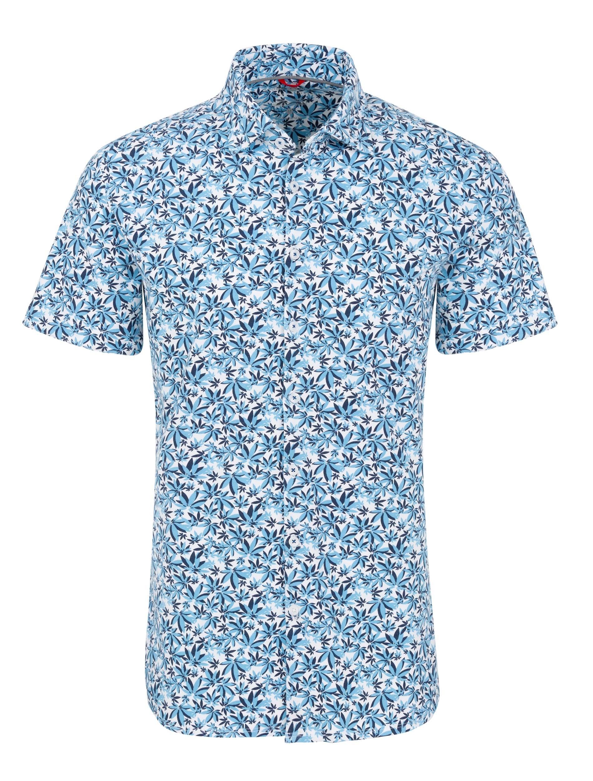 Blue Cannabis Leaves Knit Performance Short Sleeve Shirt-Stone Rose