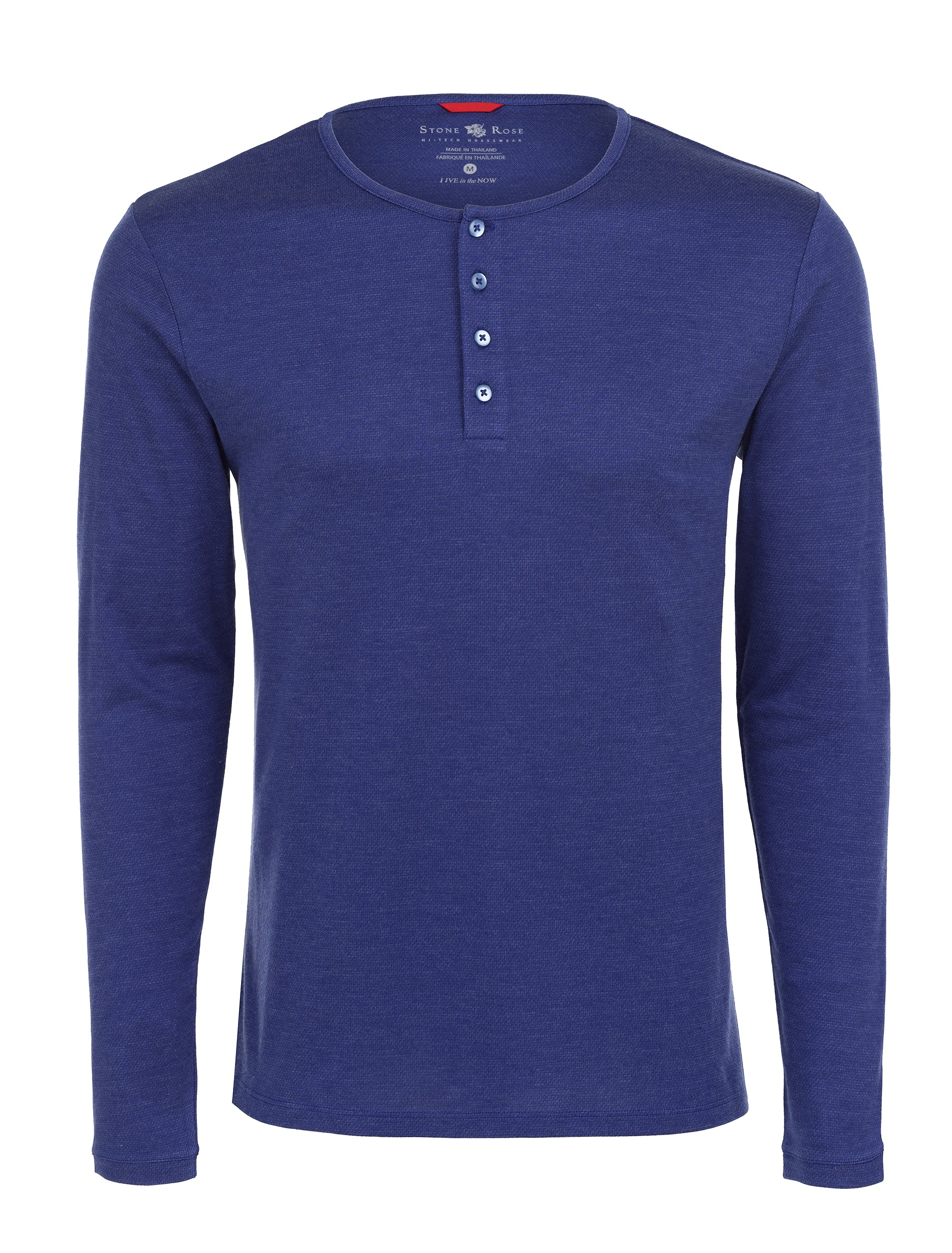 Blue Melange Knit Performance Henley-Stone Rose
