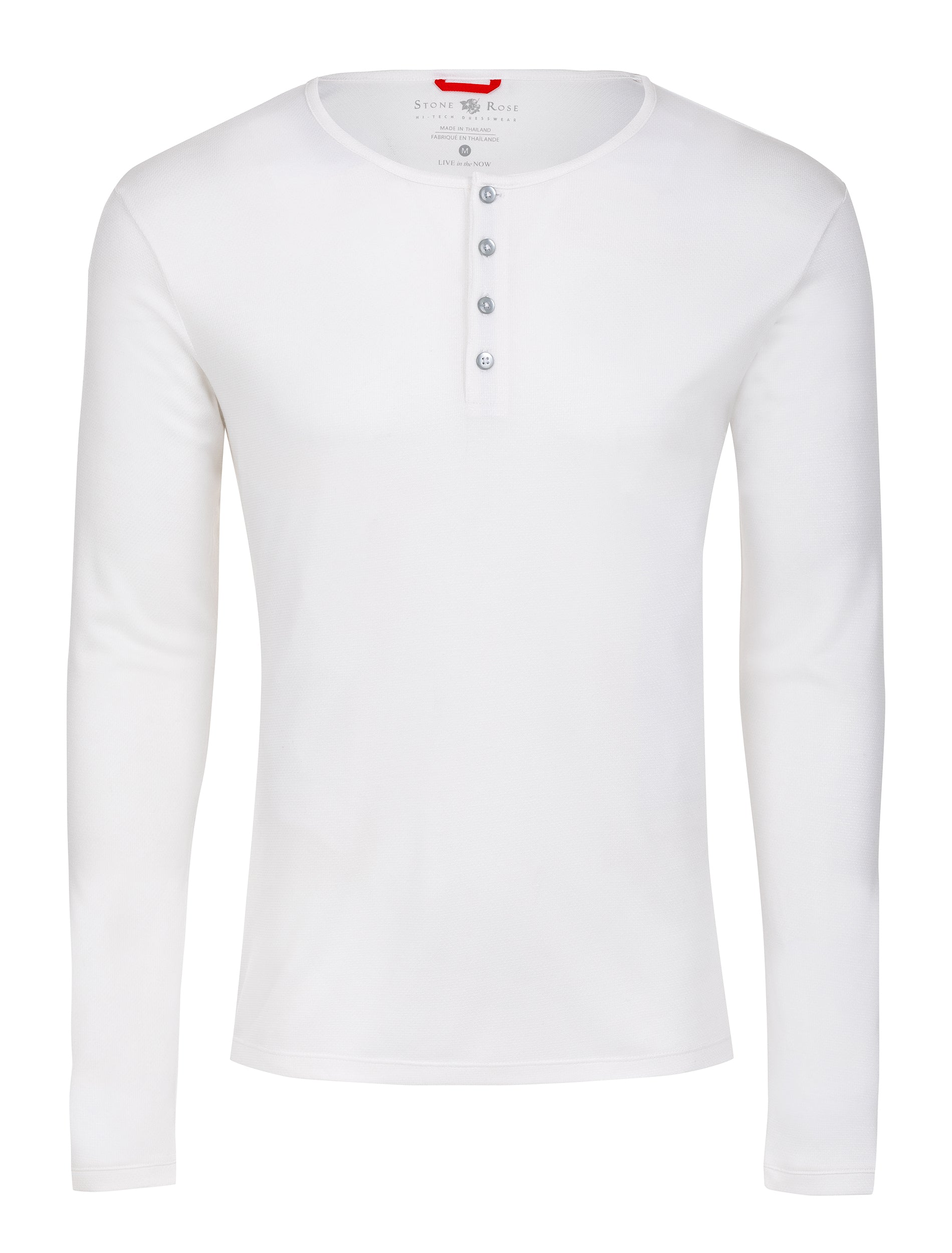 White Melange Knit Performance Henley-Stone Rose