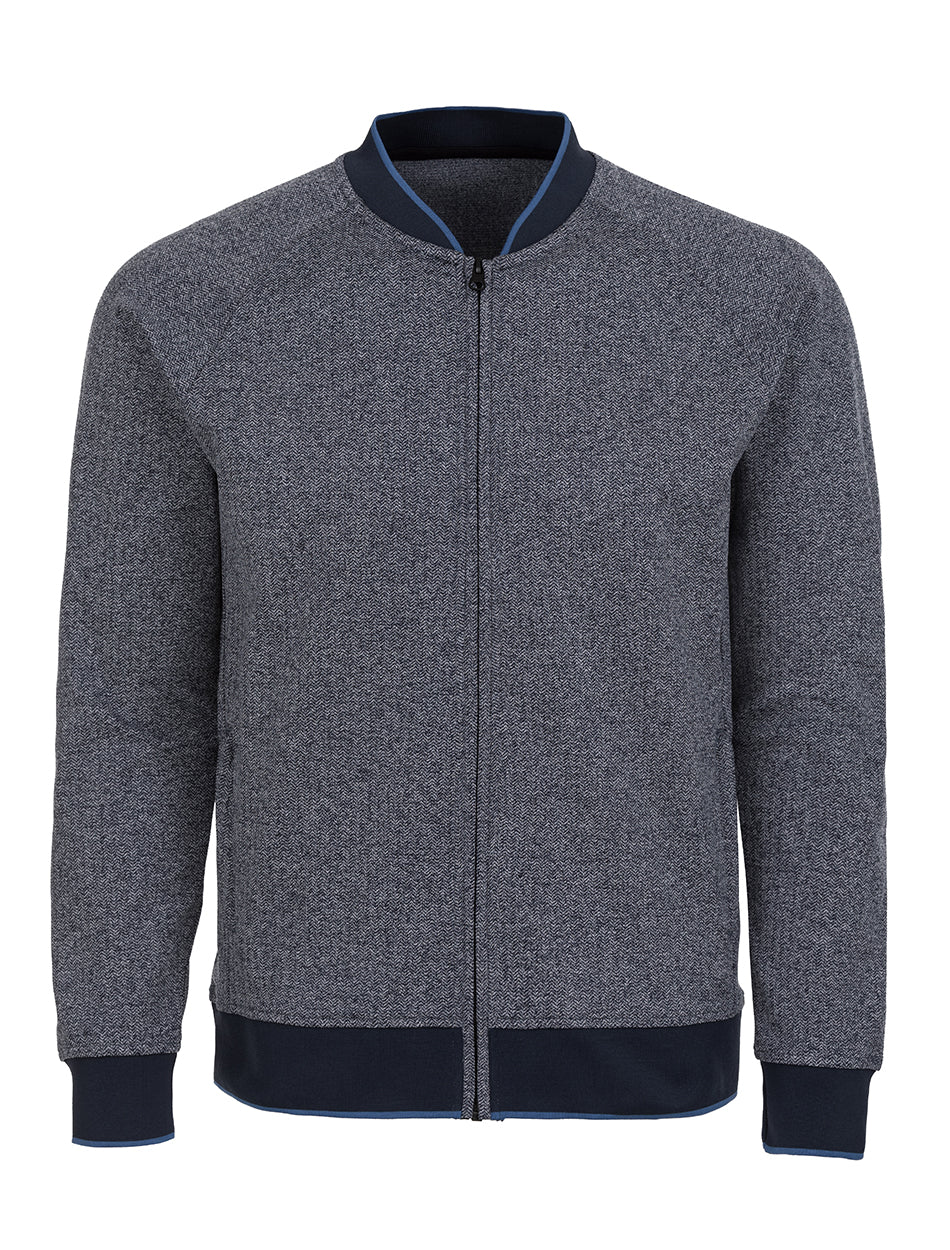 Navy Herringbone Knit Performance Bomber-Stone Rose