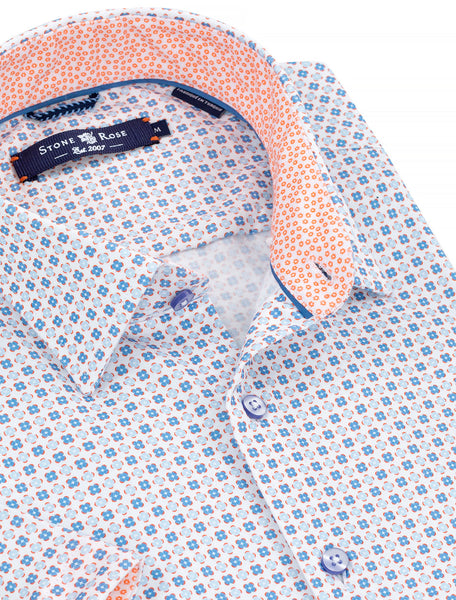 Close-up view showing the collar and inside of a blue-button-up shirt from Stone Rose.