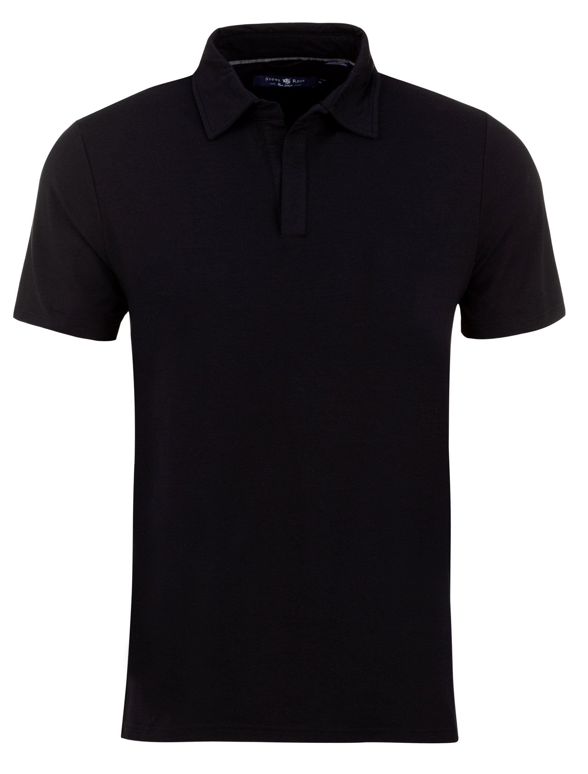 Black Micro Modal Jersey Button-less Polo