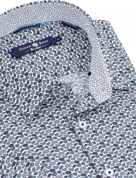 Close-up view of a men's spring shirt from Stone Rose with a microprint of clouds.