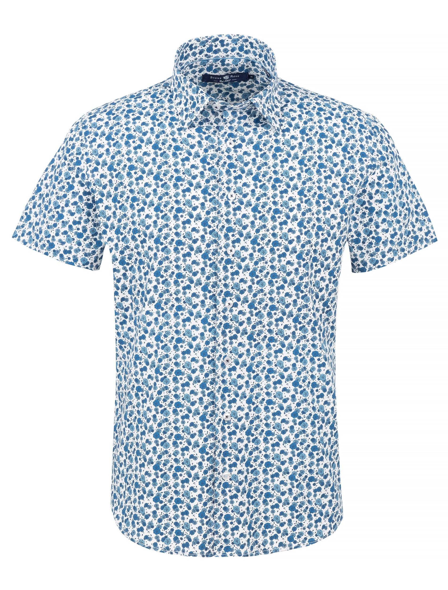 Blue Floral Print Short Sleeve Shirt-Stone Rose