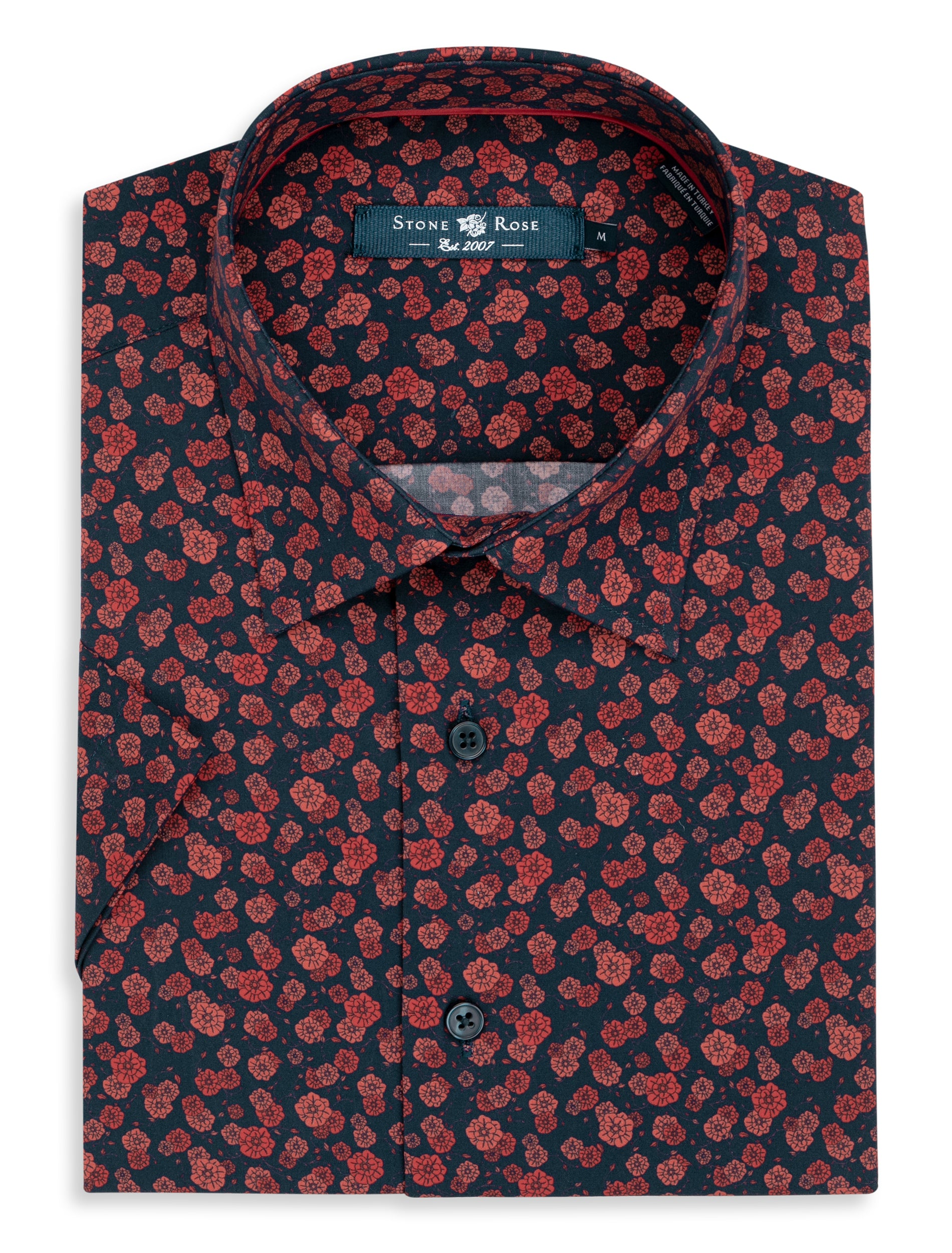 Orange Floral Print Short Sleeve Shirt-Stone Rose