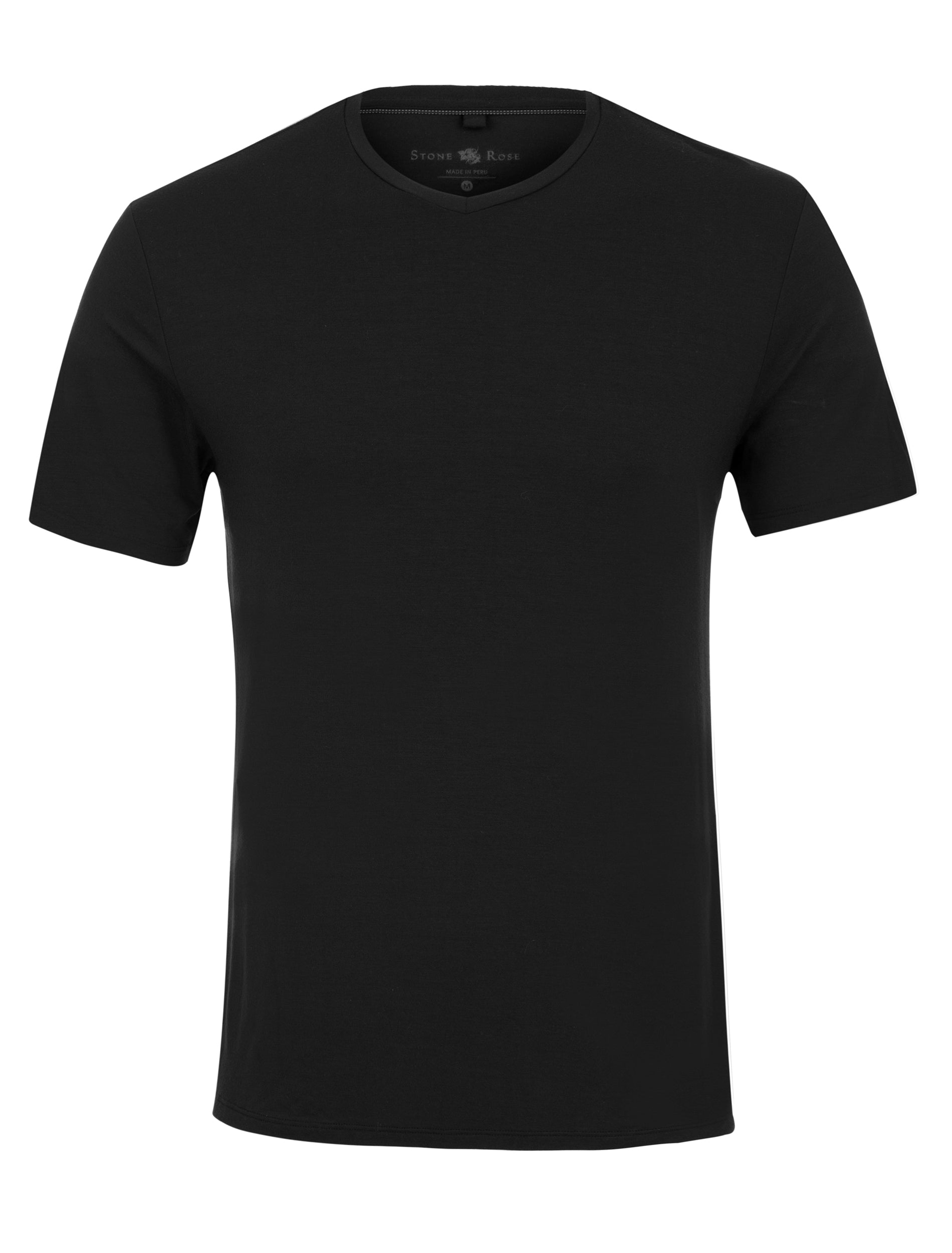 Black V-Neck Modal T-Shirt-Stone Rose