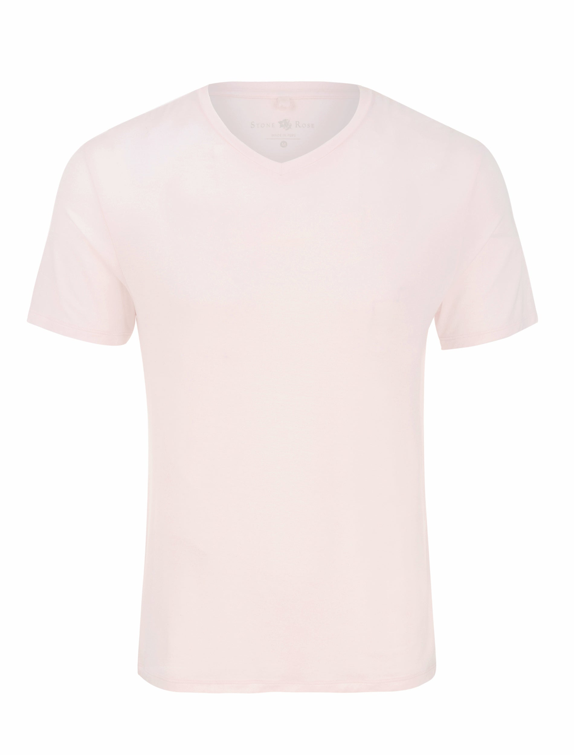 Light Pink V-Neck Modal T-Shirt-Stone Rose