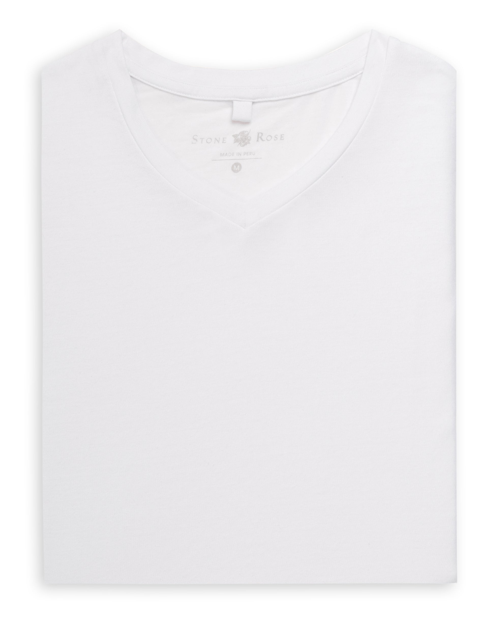 White V-Neck Modal T-Shirt-Stone Rose