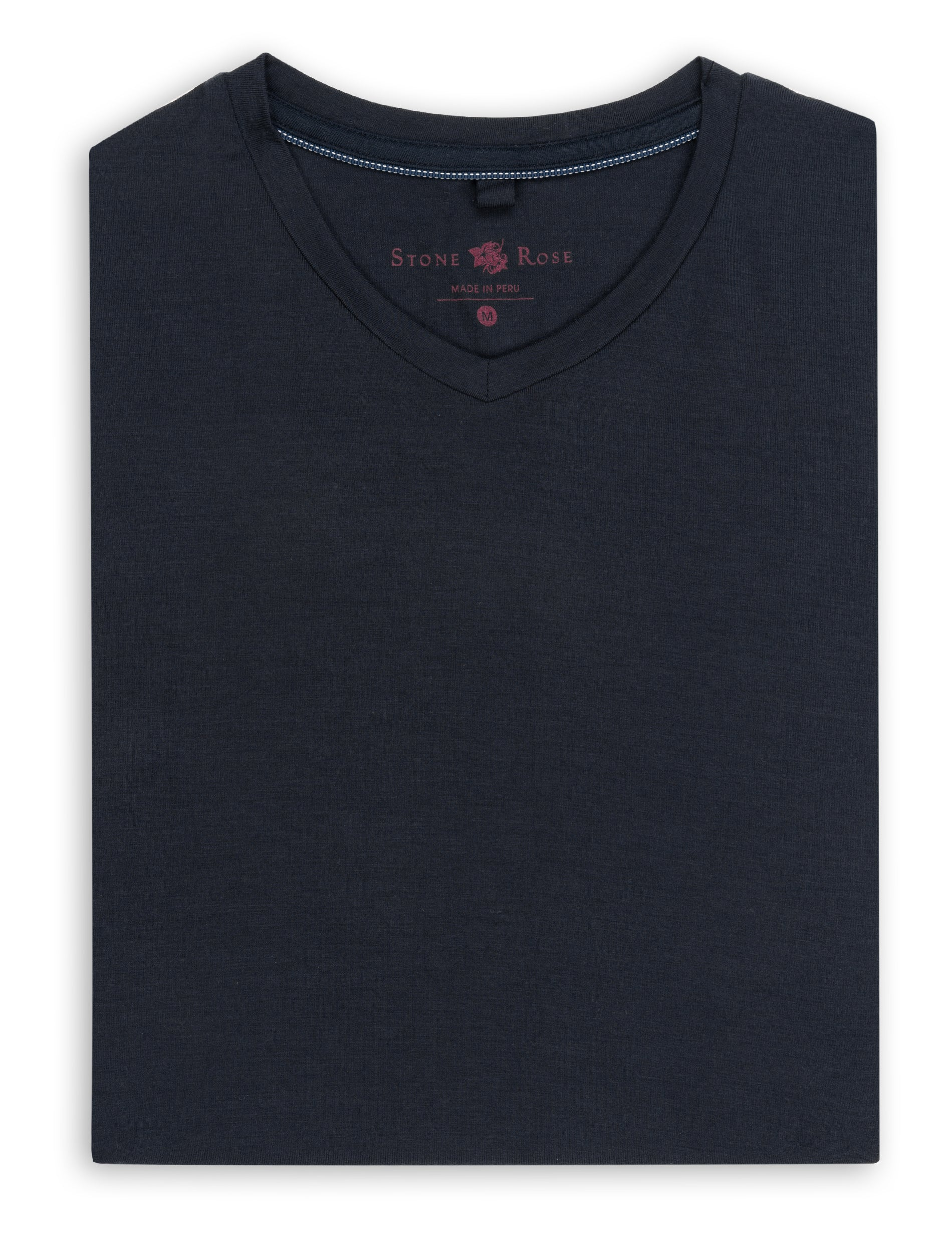 Navy V-Neck Modal T-Shirt-Stone Rose