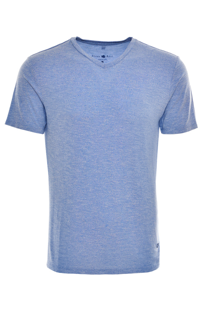 Blue Light Flame Knit V-Neck T-Shirt