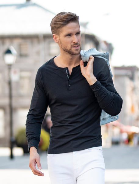 Black Long Sleeve Modal Henley
