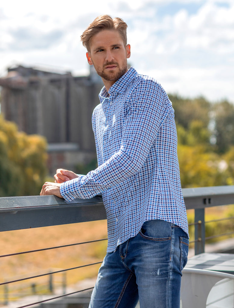 Blue Check Knit Long Sleeve Shirt