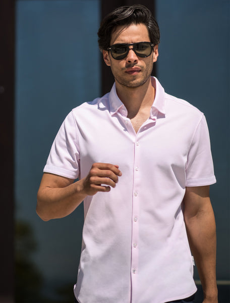 Pink Textured Knit Performance Short Sleeve Shirt