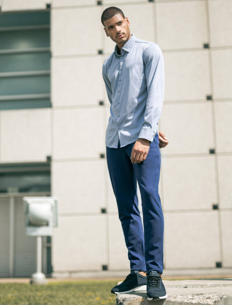 Blue Melange Knit Long Sleeve Shirt