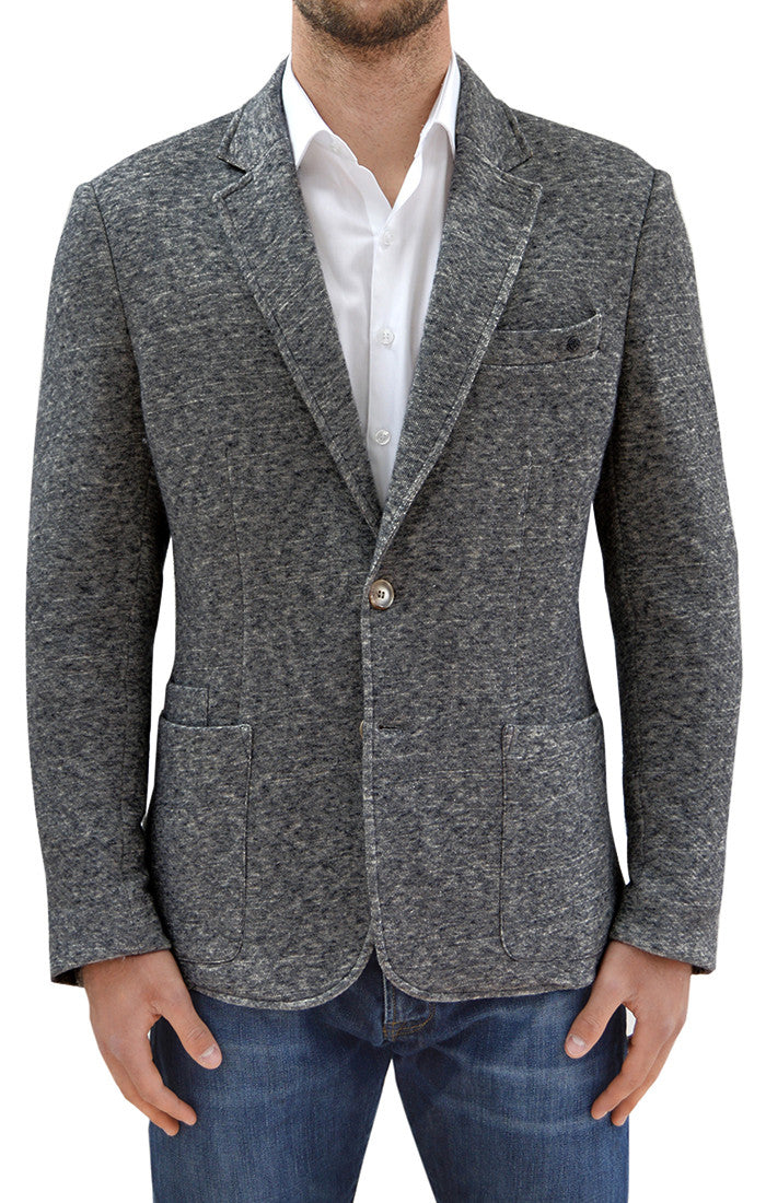 X4233 - Men's Heather Knit Blazer in Dark Gray-Stone Rose