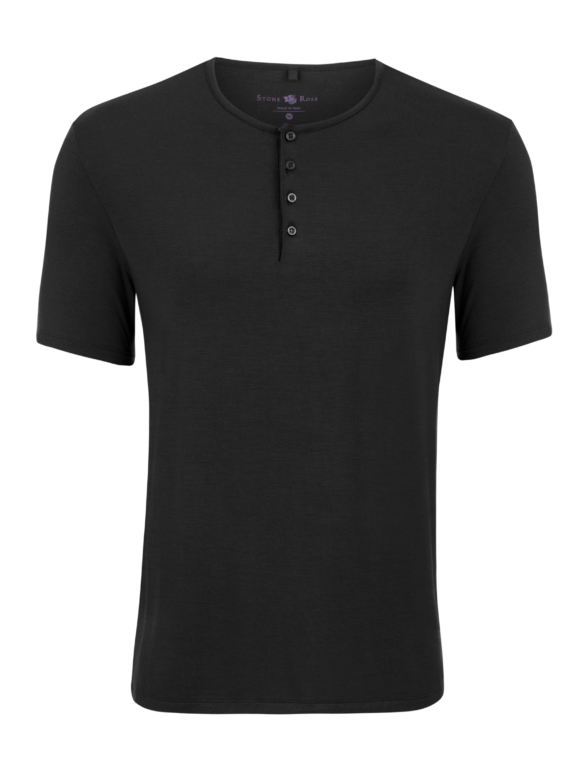 Black Modal Short Sleeve Henley-Stone Rose