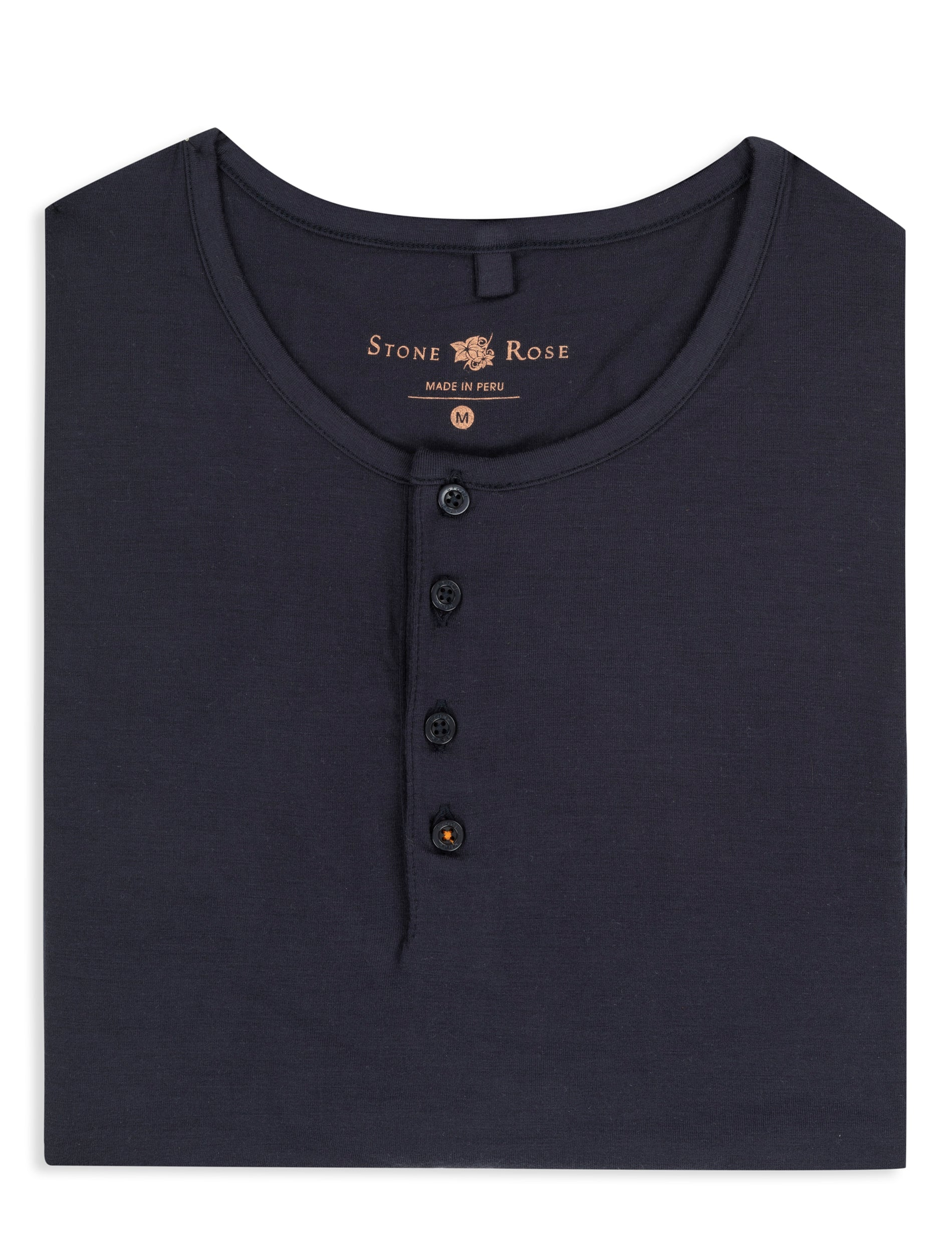 Navy Modal Short Sleeve Henley-Stone Rose