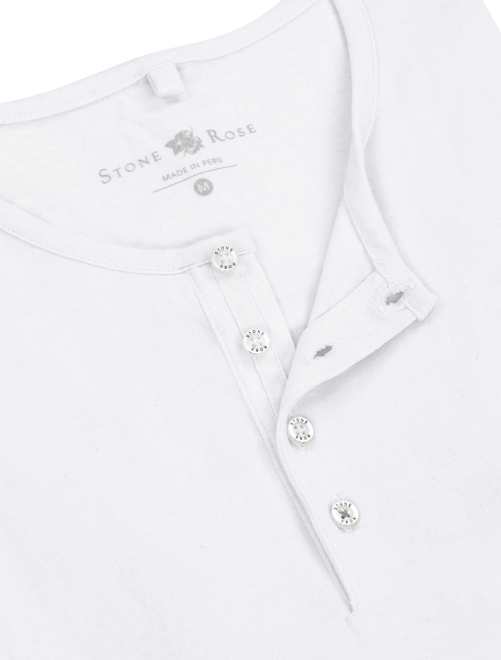 White Modal Short Sleeve Henley-Stone Rose