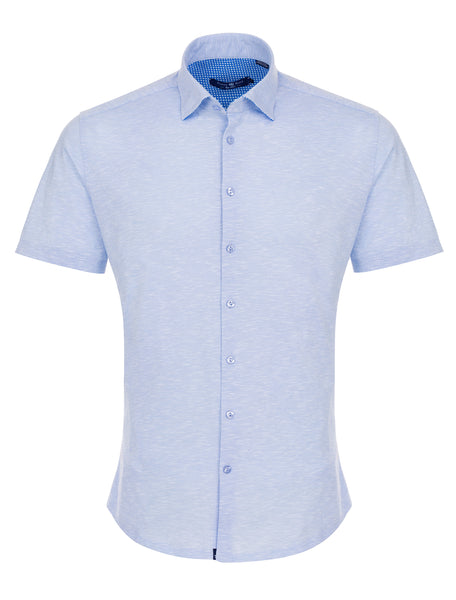 Baby Blue Flame Knit Short Sleeve Shirt