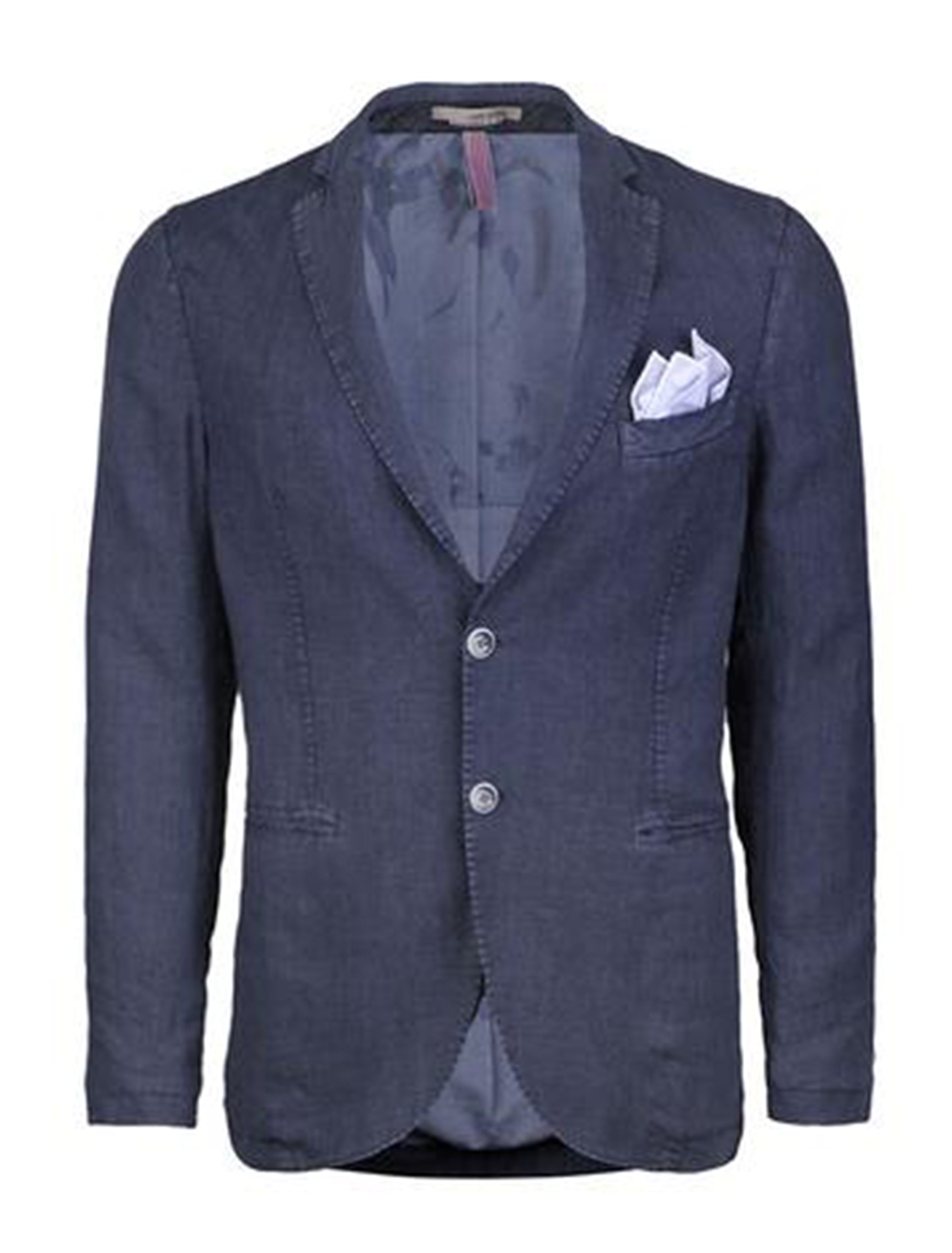 Navy Stone Washed Linen Blazer-Stone Rose