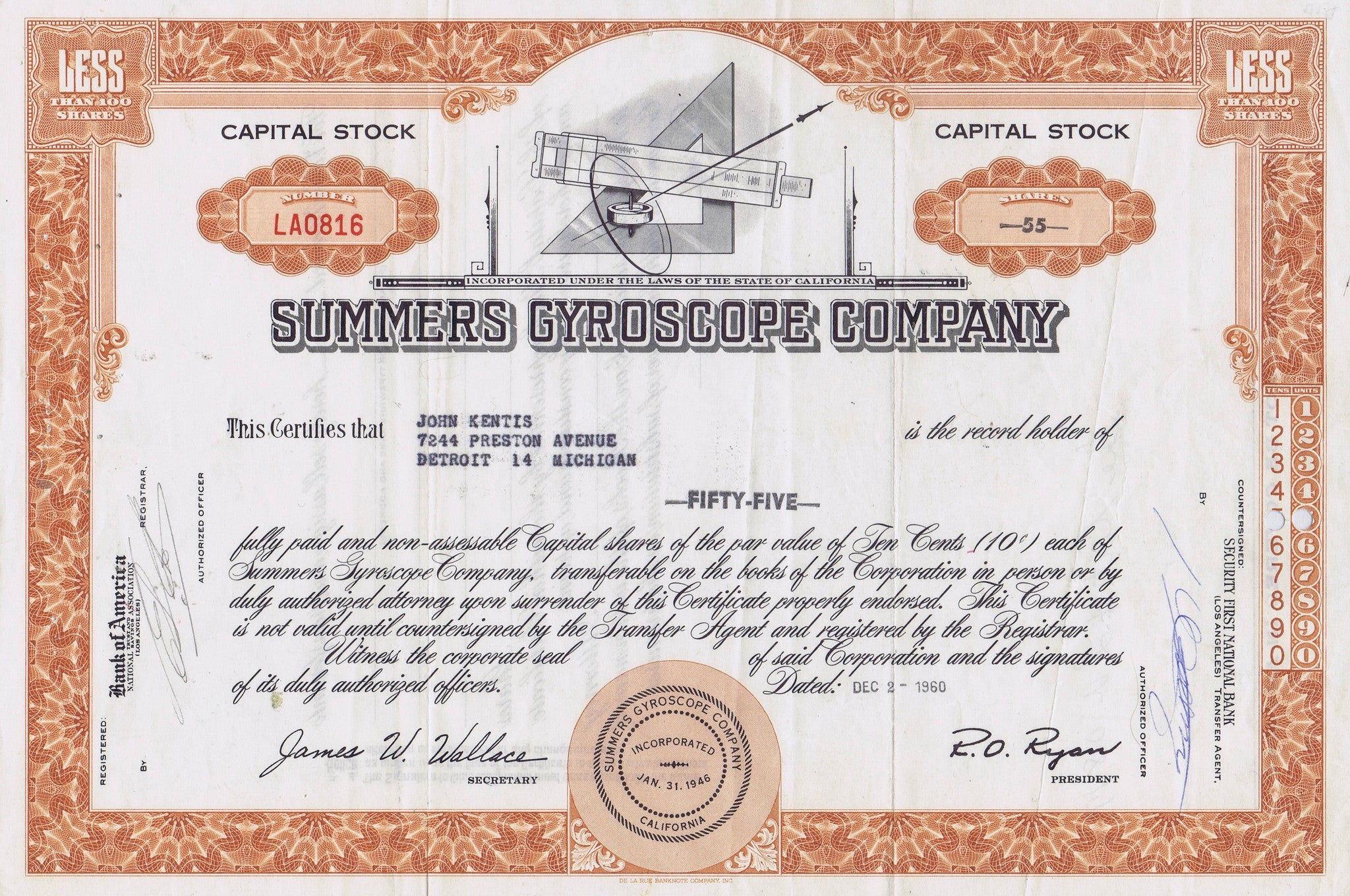 Summers gyroscope stock certificate california 1960 western summers gyroscope stock certificate california 1960 1betcityfo Choice Image
