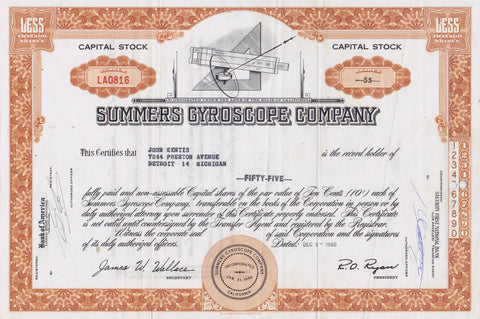 Summers Gyroscope Stock Certificate, California 1960
