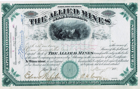 Allied Mines, Ouray, Colorado Mining Stock 1881