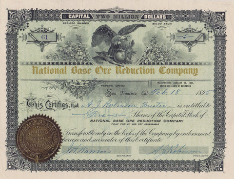 National Base Ore Reduction Company Stock, 1895 (NE)