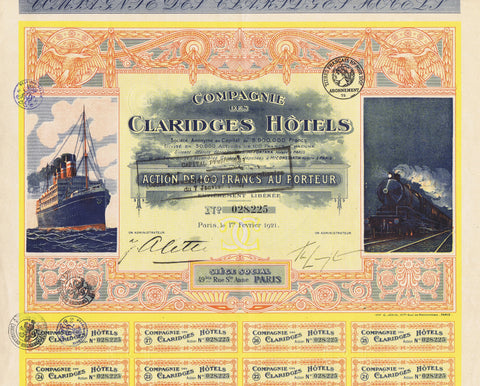 Compagnie Des Claridges Hotels,1921,100 Francs, Paris
