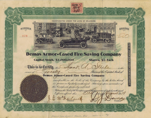 Demas Armor-Cased Tire Saving Co. Stock, Street Full of Cars, 1919
