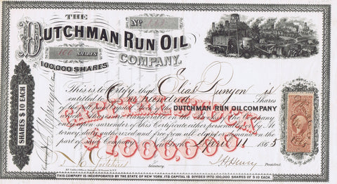 Dutchman Run Oil Company Stock, New York, 1865