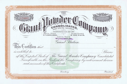 Giant Powder Company Stock Certificate, Giant Station, Cal.