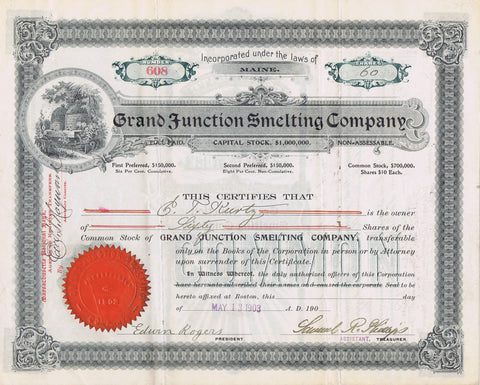 Grand Junction Smelting Company Stock, Colorado 1903
