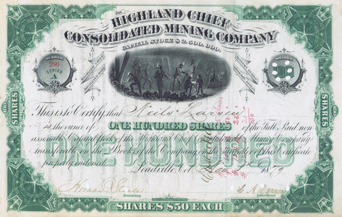 Highland Chief Cons. Mining Company, Leadville, CO 1879