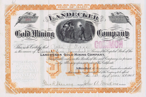 Landecker Gold Mining Co. Stock, Placerville, Cal. 1905