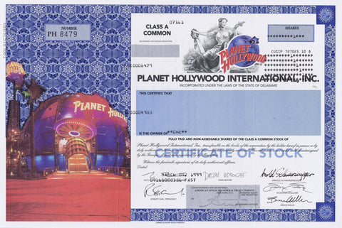 Planet Hollywood International, Inc. Stock Certificate, 1999, 1 Share