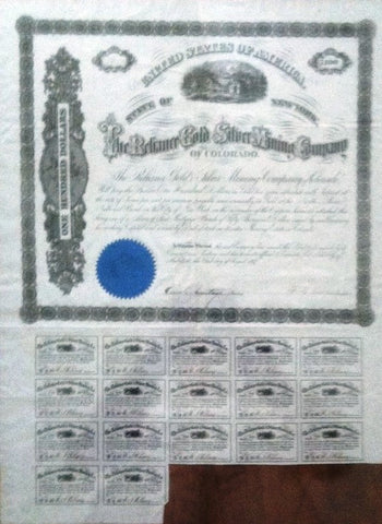 Reliance Gold & Silver Mining Co. of Colorado, Territorial Bond 1867