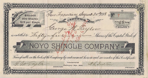 Noyo Shingle Company Stock, Mendocino County, Cal 1898