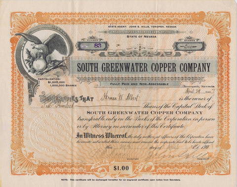 South Greenwater Copper Company Stock, Death Valley, Cal. 1907