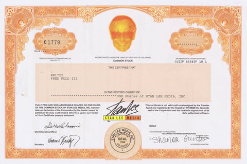 Stan Lee Media Stock Certificate, One Share 1996