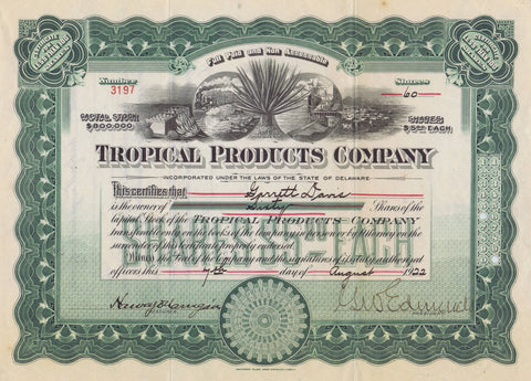 Tropical Products Company Stock, Hennequin Plant, Harbor Scene 1922