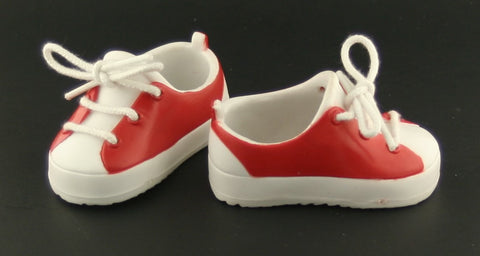 Tolly Tots Doll Shoes -- Red White Sneakers Fit American Girl