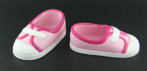 "18"" Battat Doll Shoes -- Pink & White Flats -- Fits American Girl"