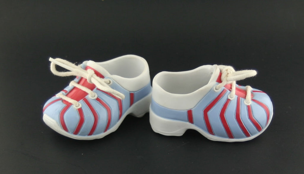 American Girl Size Shoes -- Red White & Blue Striped Sneakers