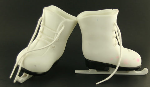 White Tolly Tots Ice Skates -- Fits American Girl -- Stained
