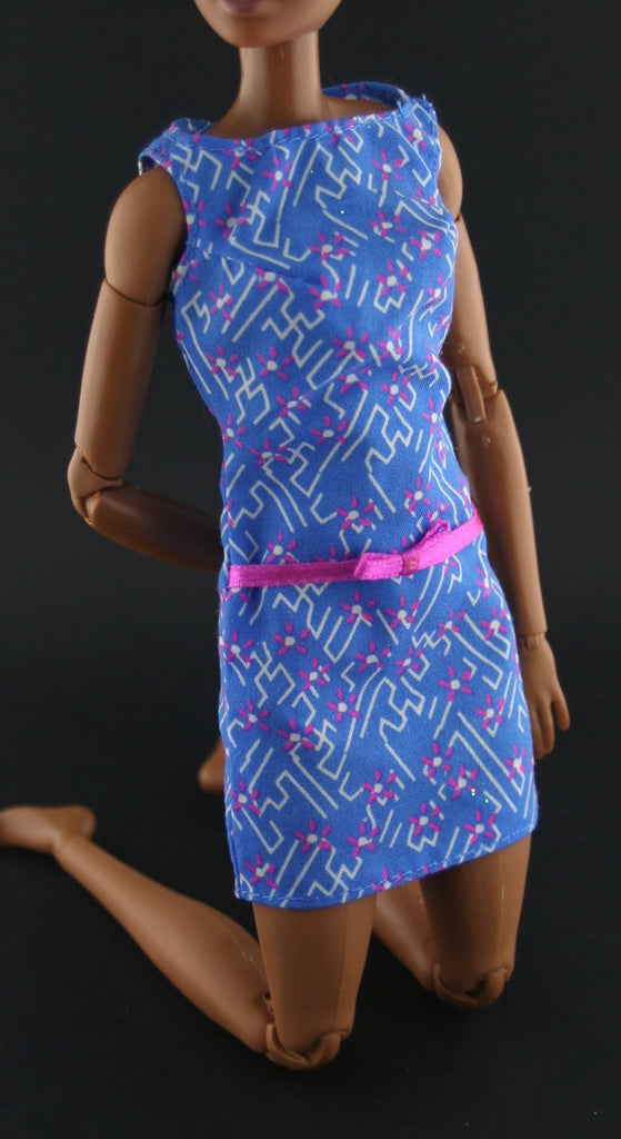 Barbie Clothes -- Blue Mini Dress W/ Geometric Design