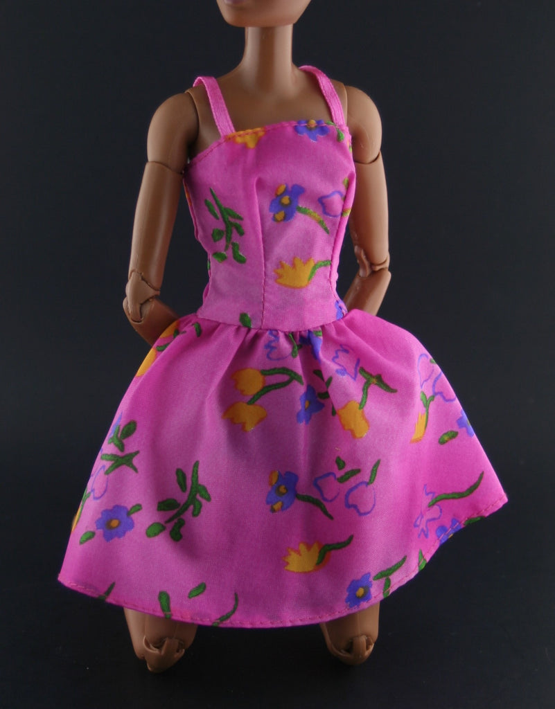 Barbie Clothes -- Fuschia Nylon Dress W/ Spaghetti Straps