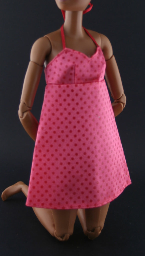 Barbie Clothes -- Pink Babydoll Dress W/ Red Dots