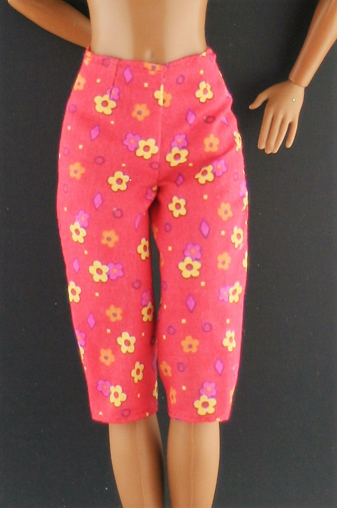 Barbie Clothes -- Red Capris W/ Yellow Flowers