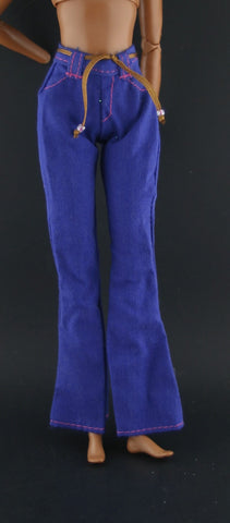 Barbie Clothes -- Dark Blue Pants (Slacks) W/ Attached Belt